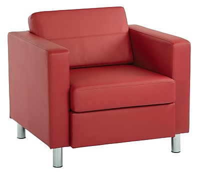 Office Star Pacific Dillon Lipstick Antimicrobial Vinyl Pacific Arm Chair with Silver Finish Legs (PAC51-R100)