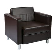 Office Star Pacific Espresso Vinyl Pacific Arm Chair with Silver Finish Legs (PAC51-V34)