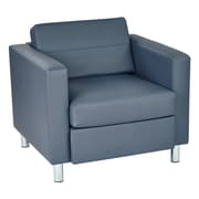 Office Star Pacific Dillon Blue Antimicrobial Vinyl Pacific Arm Chair with Silver Finish Legs (PAC51-R105)
