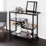 Southern Enterprises Holly & Martin Zephs Bar Cart, Black & Smoked Mirror (HZ8813)