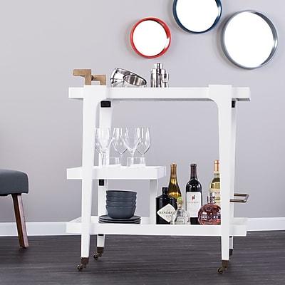 Southern Enterprises Holly & Martin Zhori Midcentury Modern Bar Cart, White (HZ2032)