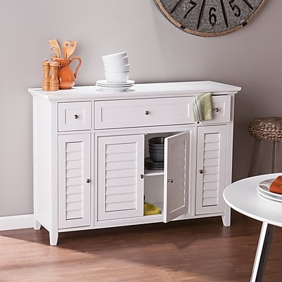 Southern Enterprises Fairbury 3-in-1 Media Console & Sideboard, White (MS0294)