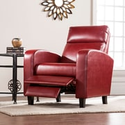 Southern Enterprises Benton Faux Leather Two-Step Recliner, Roman Red (UP1103)