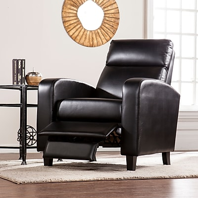 Southern Enterprises Benton Faux Leather Two-Step Recliner, Black (UP1104)