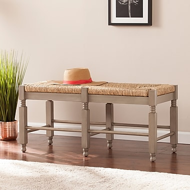 Southern Enterprises Karvina Seagrass Bench & Cocktail Table (BC5875)
