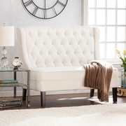 Southern Enterprises Linklea High-Back Tufted Settee Bench, Ivory (UP9353)