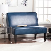 Southern Enterprises Brooking Faux Leather Settee Bench, Blanche Royal (UP3801)
