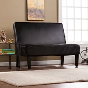 Southern Enterprises Brooking Faux Leather Settee Bench, Black (UP3804)