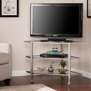 Southern Enterprises Jaymes Metal & Glass Corner TV Stand, Distressed Silver (MS0724)