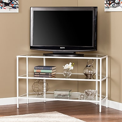 Southern Enterprises Kendrick Metal & Glass Corner-Optional TV Stand- White (MS2422)