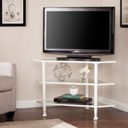 Southern Enterprises Jaymes Metal & Glass Corner TV Stand, White (MS4724)