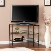 Southern Enterprises Niles Metal & Glass Corner TV Stand, Black (MS2411)