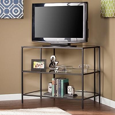 Southern Enterprises Martyn Metal & Glass Corner-Optional TV Stand, Black (MS2401)