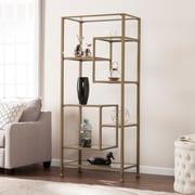 Southern Enterprises Jaymes Metal & Glass Asymmetrical Bookcase, Matte Khaki (HZ3774)