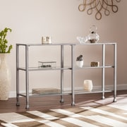 Southern Enterprises Jaymes Metal & Glass 3-Tier Console Table & Media Stand, Silver (CM0771)