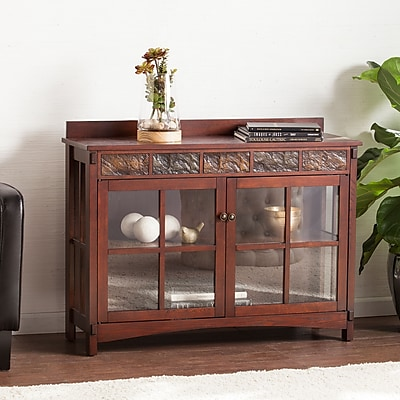 Southern Enterprises Camino Mission Faux Slate Sideboard and Display Curio (CM2900)