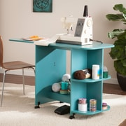 Southern Enterprises Expandable Rolling Sewing Table & Craft Station, Turquoise (HZ8665)