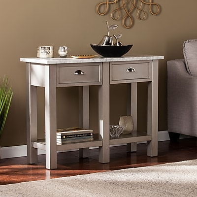 Southern Enterprises Youngston Faux Marble Rectangular Console Table, Gray (CK2763)