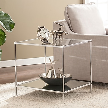 Southern Enterprises Knox Glam Mirrored End Table, Chrome (CK5002)