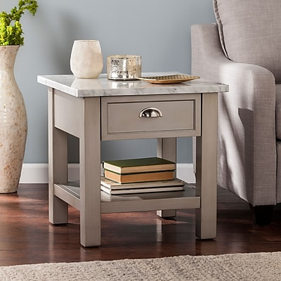 Southern Enterprises Youngston Faux Marble Square End Table, Gray (CK2762)