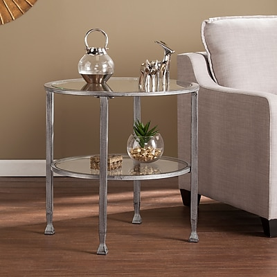 Southern Enterprises Jaymes Metal & Glass Round End Table, Silver (CK0742)