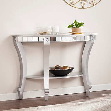 Southern Enterprises Lindsay Glam Mirrored Demilune Console Table (CK2383)