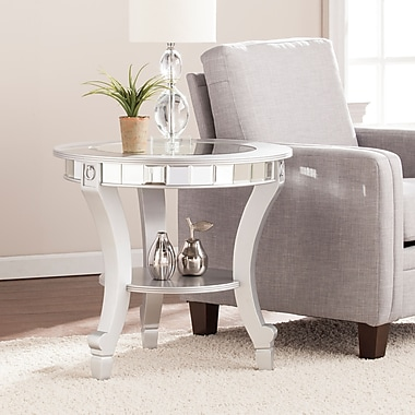Southern Enterprises Lindsay Glam Mirrored Round End Table (CK2382)