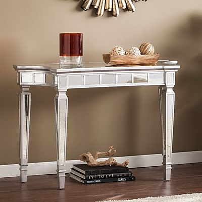 Southern Enterprises Glenview Glam Mirrored Console Table, Matte Silver (CK3633)