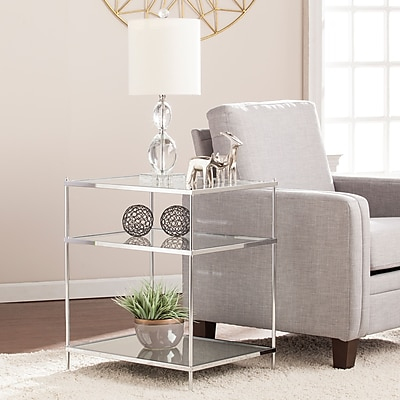 Southern Enterprises Knox Glam Mirrored Side Table, Chrome (OC5204)
