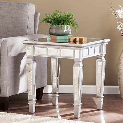 Southern Enterprises Glenview Glam Mirrored Square End Table, Matte Silver (CK3632)