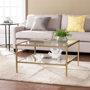 Southern Enterprises Keller Square Metal & Glass Open Shelf Cocktail Table, Gold (CK3730)