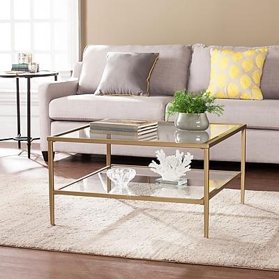 Southern Enterprises Keller Square Metal & Glass Open Shelf Cocktail Table, Gold (CK3730)