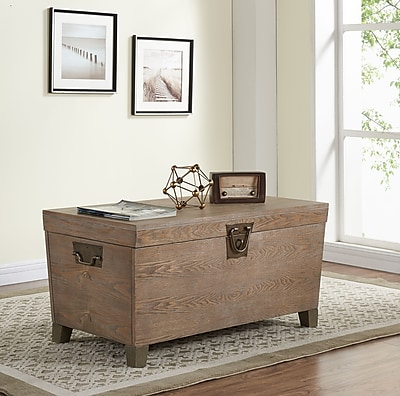 Southern Enterprises Pyramid Trunk Cocktail Table, Burnt Oak (CK0224)