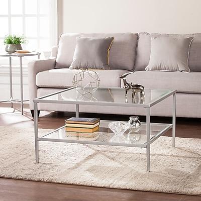 Southern Enterprises Keller Square Metal & Glass Open Shelf Cocktail Table, Silver (CK3720)