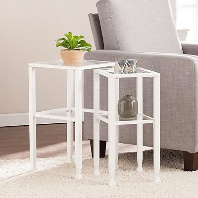 Southern Enterprises Jaymes Metal & Glass Contemporary 2 Piece Nesting Table Set, White (OC4722)
