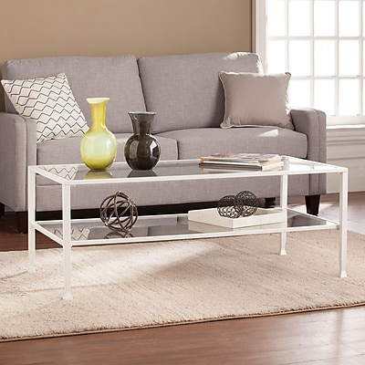 Southern Enterprises Jaymes Metal & Glass Rectangular Open Shelf Cocktail Table (CK4779)