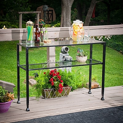 Southern Enterprises Crandall Metal & Glass Outdoor Console Table, Brushed Black (OD2403)