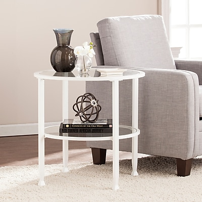 Southern Enterprises Jaymes Metal & Glass Round End Table, White (CK4742)