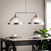 Southern Enterprises Ellerby Double Half Globe Island Pendant Lamp, Satin Chrome (LT1832)