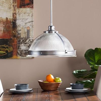 Southern Enterprises Ellerby Half Globe Pendant Lamp, Satin Chrome (LT1831)