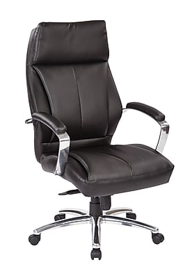 Pro-Line II Black Bonded Leather High Back Executive Chair with Polished Aluminum Accents (60310)