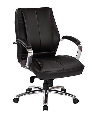 Pro-Line II Black Bonded Leather Mid Back Executive Chair with Polished Aluminum Accents (60311)