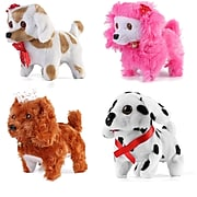 Walking And Barking Plush Happy Doggy Preschool Collection Holiday Toys, 4 Pack (PT_000000628)