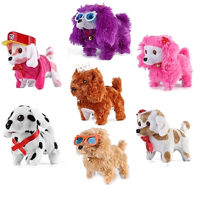 Walking And Barking Plush Happy Doggy Preschool Collection Holiday Toys, 7 Pack (PT_000000629)