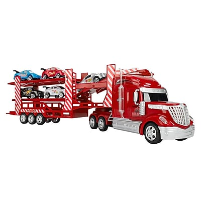 Red Remote Control Continental Truck Carrier With 5 Cars (TOYCAR304)