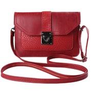 Red Ridged Buckle Crossbody Cellphone Bag (CELLEA074)