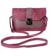 Pink Ridged Buckle Crossbody Cellphone Bag (CELLEA073)
