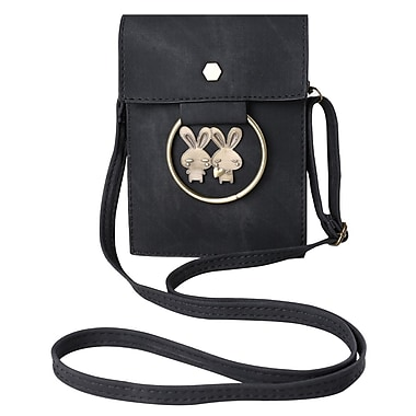Black Retro Twill Vertical Crossbody Bag (CELLEA075)