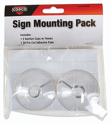 Cosco Sign Accessory Kit, Suction Cups with Hooks and Adhesives,96 Piece, 4 Pack (098098PK4) 24231207