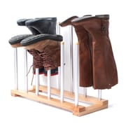 INNOKA 6 Pairs Space Saving Shoes Rack Standing Storage Holder Hanger Organizer for Riding Rain Boots - Wooden/Silver